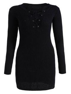 Fitted Lace Up Jumper Dress - Black