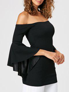 Fitted Off The Shoulder Flare Sleeve Blouse - Noir 2xl