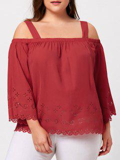 Plus Size Cold Shoulder Hollow Out Scalloped Blouse - Red 5xl