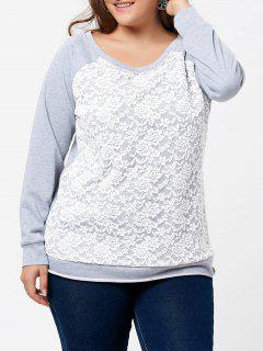 Plus Size Lace Panel Raglan Sleeve Pullover Sweatshirt - Gray 3xl
