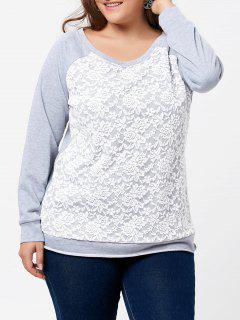 Plus Size Lace Panel Raglan Sleeve Pullover Sweatshirt - Gray 4xl