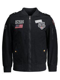 Enbroidered Applique Bomber Jacket - Black 4xl