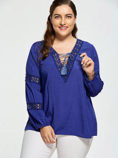 Crochet Insert Plus Size Lattice Blouse - Deep Blue 3xl