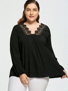 Crochet Insert Plus Size V Neck Blouse - Black 4xl