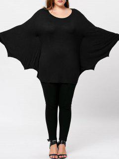 Plus Size Halloween Batwing T-shirt - Black 5xl