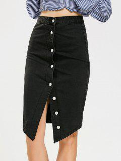 Asymmetrical Button Up Denim Skirt - Black L