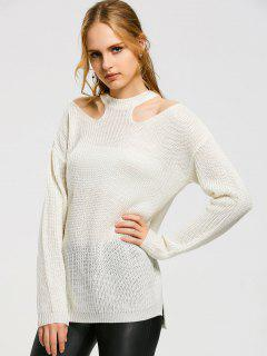 High Low Cold Shoulder Sweater - White