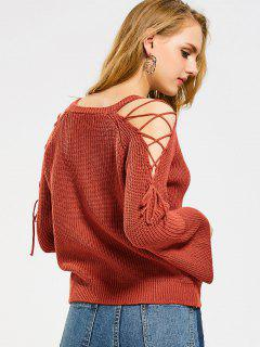Flare Sleeve Lace Up V Neck Sweater - Jacinth