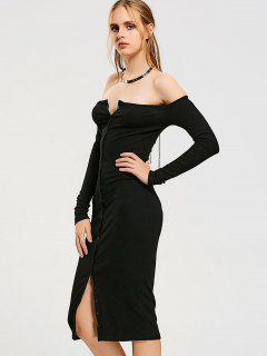 Button Up Off Shoulder Bodycon Dress - Black S