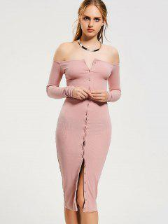 Button Up Off Shoulder Bodycon Dress - Pink S