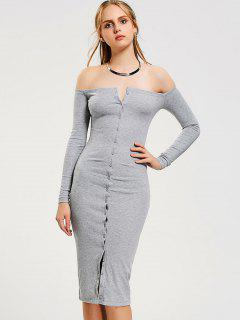 Button Up Off Shoulder Bodycon Dress - Gray M