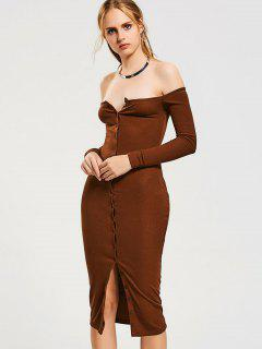 Button Up Off Shoulder Bodycon Dress - Light Coffee S