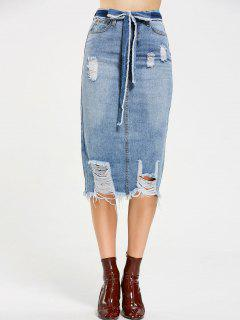 Belted Destroyed Midi Denim Skirt - Denim Blue L