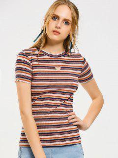 Ruffled Stripes Heart Patches T-shirt - Stripe M