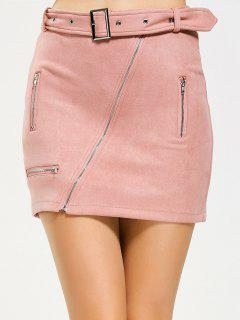 Zippered Belted Fuax Suede Mini Skirt - Pink M