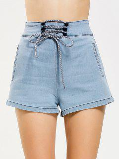 High Waisted Lace Up Jean Shorts - Denim Blue M