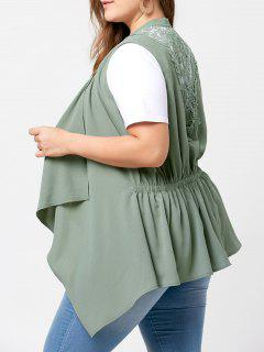 Plus Size Lace Insert Waterfall Wasitcoat - Pea Green Xl