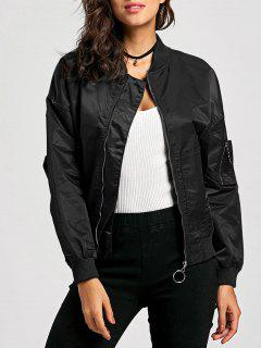 Zip Up Pilot Jacket - Black S