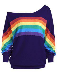 Rainbow Print Plus Size One Shoulder Top - Purple 5xl