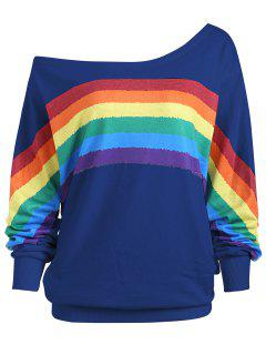 Rainbow Print Plus Size One Shoulder Top - Deep Blue 2xl