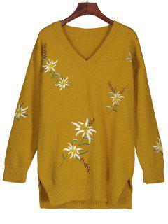 Suéter De Punto Con Túnica Bordada - Amarillo Profundo M