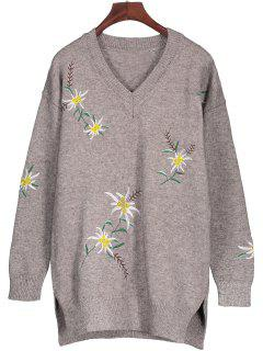 Embroidered Tunic Jumper Sweater - Gray M