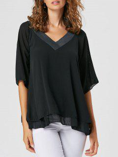 V Neck Layered Sheer Chiffon Blouse - Black 2xl