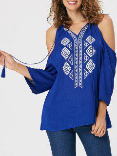 Tassel Ethnic Print Cold Shoulder Blouse - Blue S