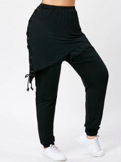 Lace-up Plus Size Faux Zwei Stück Hose - Schwarz 5xl
