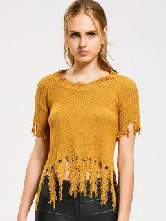 Suéter De Borlas Con Mangas Cortas - Amarillo