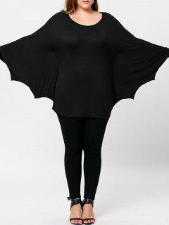 Plus Size Halloween Batwing T-shirt - Black 4xl