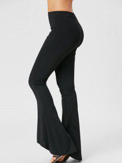 Elasticized Waist Flare Pants - Black Xl