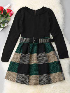 A-line Long Sleeve Plaid Dress - Black Xl