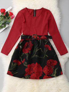 Una Línea De Manga Larga Vestido Floral - Rojo 2xl