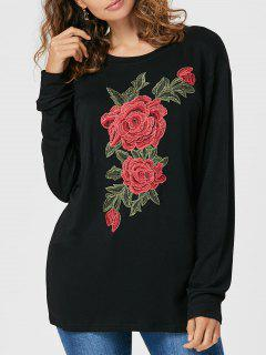 Floral Embroidered Long Sleeve Tee - Black L