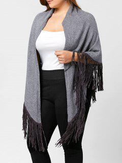 Plus Size Fringed Knitted Cape - Gray