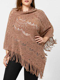 Plus Size Hollow Out Poncho Sweater - Camel