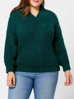 Drop Shoulder Chunky Plus Size Sweater - Blackish Green