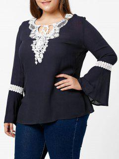 Plus Size Lace Panel Flare Sleeve Blouse - Cadetblue Xl
