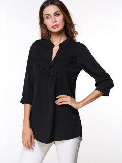 Button Lace Embellished Chiffon Blouse - Black Xl