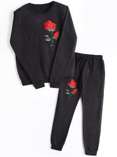 Rose Embroidered Patches Sweatshirt And Casual Drawstring Pants - Black S