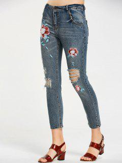 Floral Embroidered Destroyed Ninth Jeans - Denim Blue L