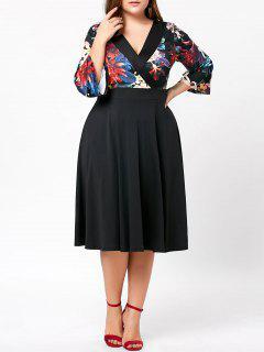 Vestido De Sobrepelliz Midi Floral De Tallas Grandes - Negro 5xl