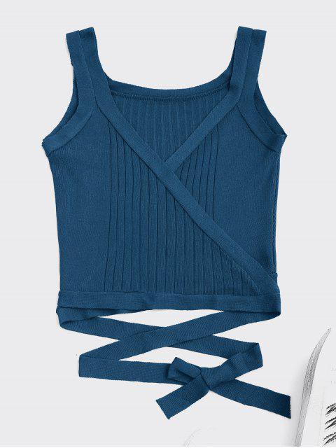 women Wrap Knit Tank Top - PEACOCK BLUE ONE SIZE Mobile