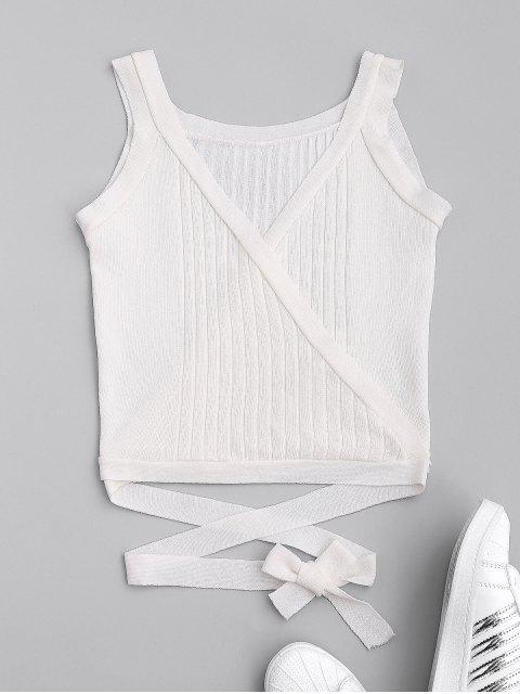lady Wrap Knit Tank Top - WHITE ONE SIZE Mobile