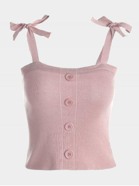 affordable Button Embellished Tie Shoulder Knitted Top - PINK ONE SIZE Mobile