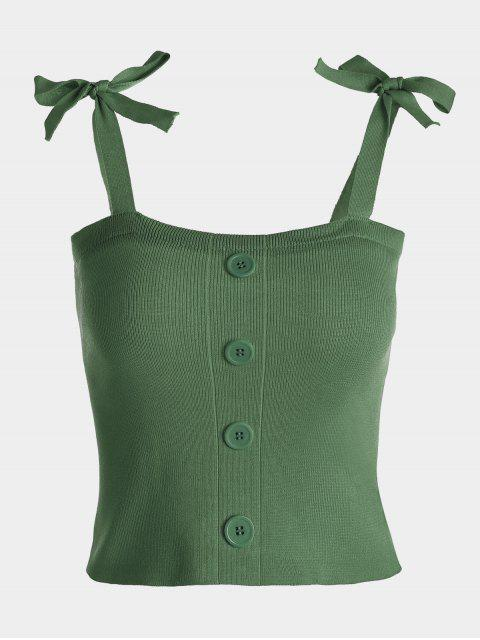 Button Embellished Tie Shoulder Knitted Top - Vert Armée TAILLE MOYENNE Mobile