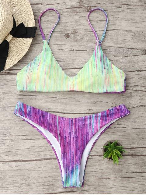 Ensemble de bikini à bandoulière Tie Dye Spaghetti - Multicolore M Mobile