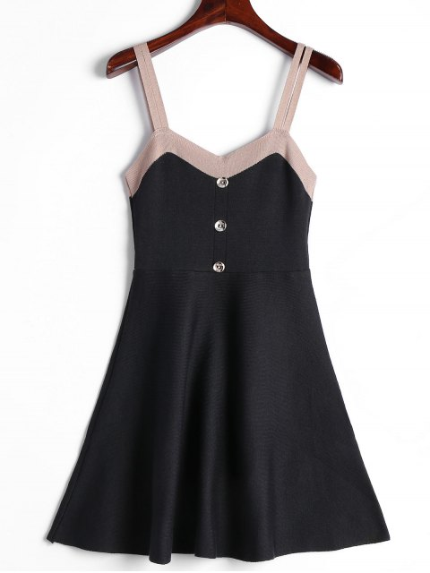 outfit Two Tone Double Straps Knitted Dress - BLACK ONE SIZE Mobile