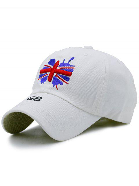 shops England Flag Embroidery Baseball Hat - WHITE  Mobile